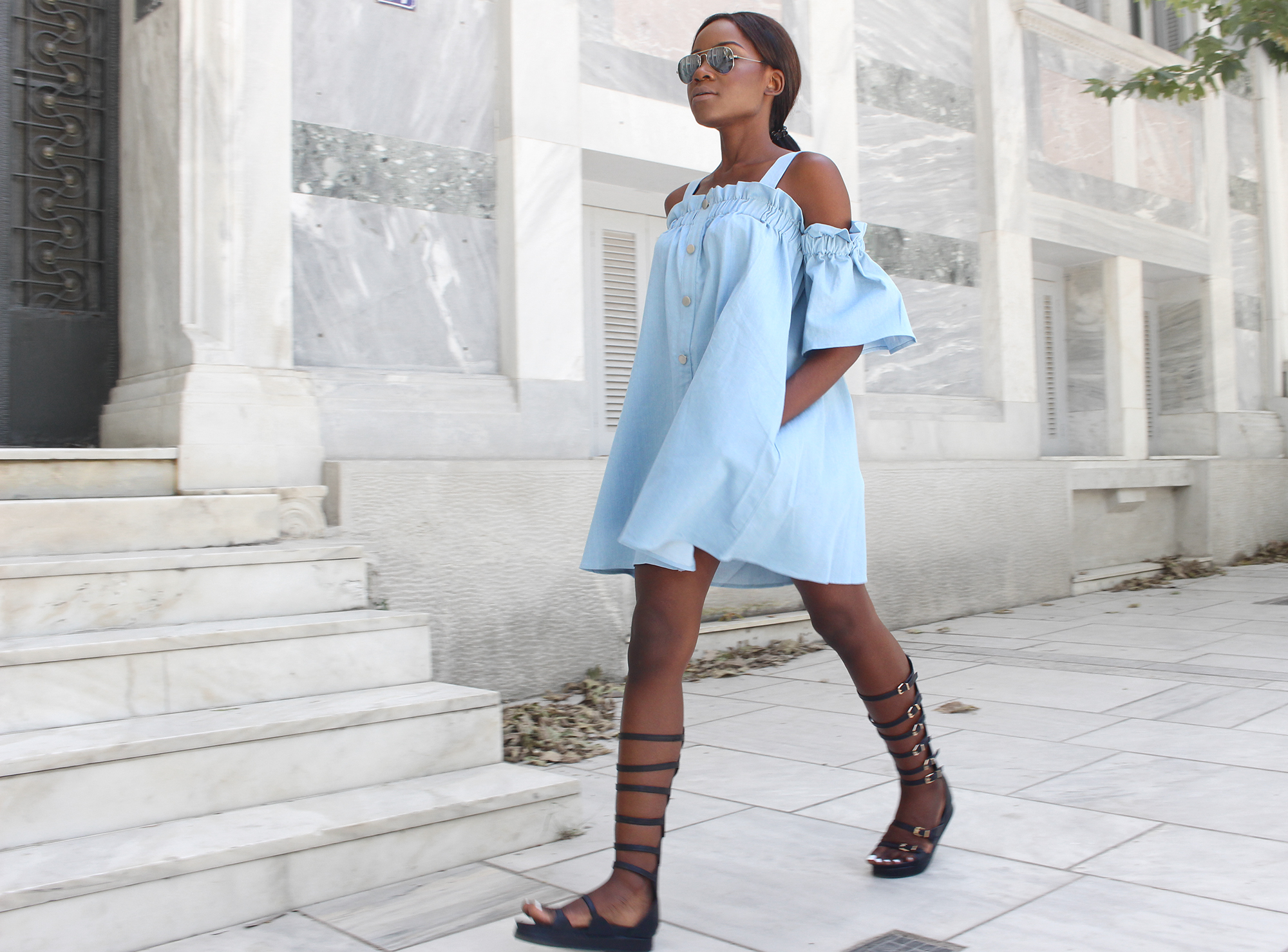 chambray-dress-gladiator-sandals