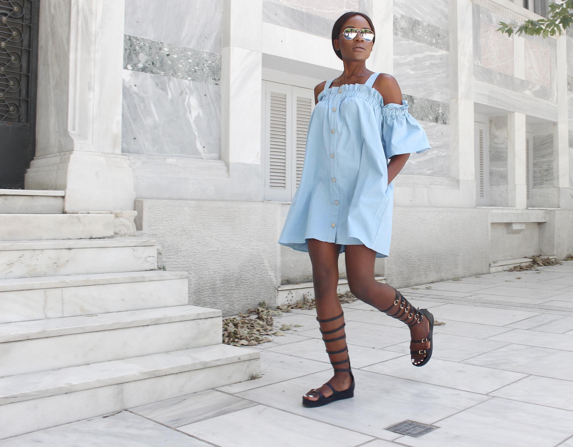 chambray-dress-gladiator-sandals