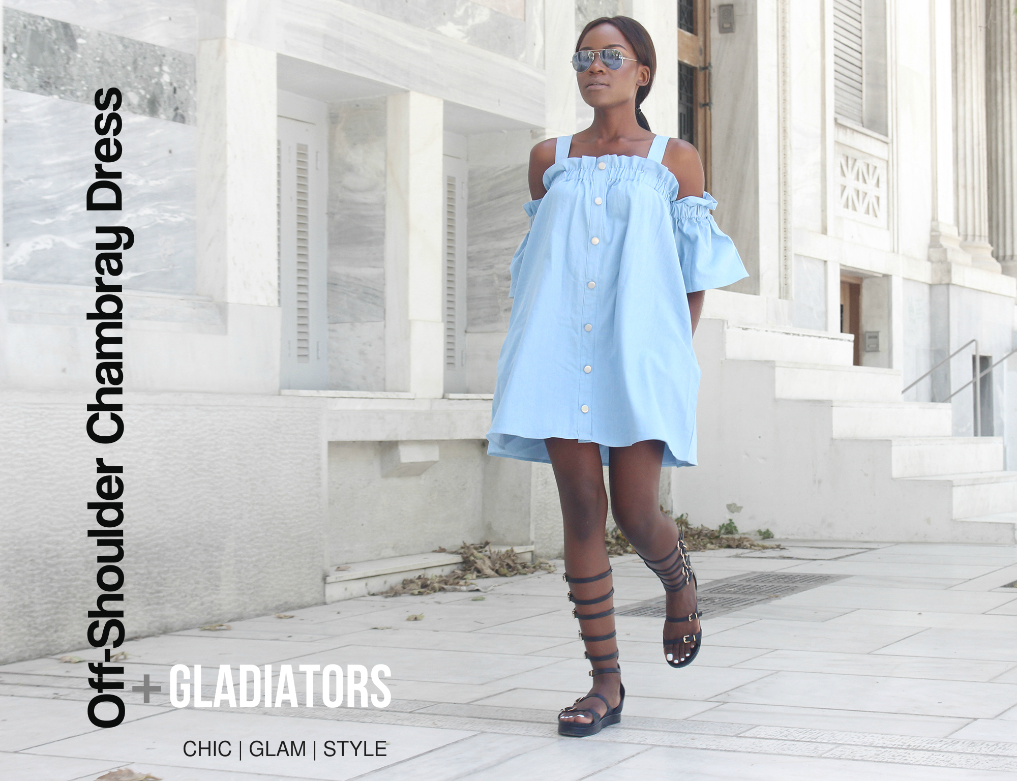 chambray-dress-gladiator-flats