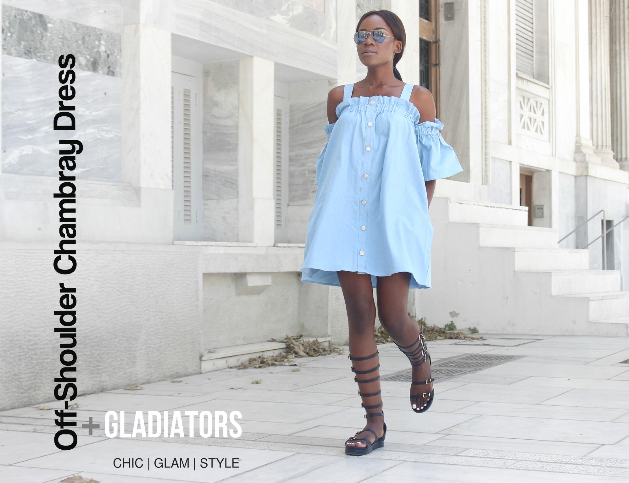 chambray-dress-gladiator-flats