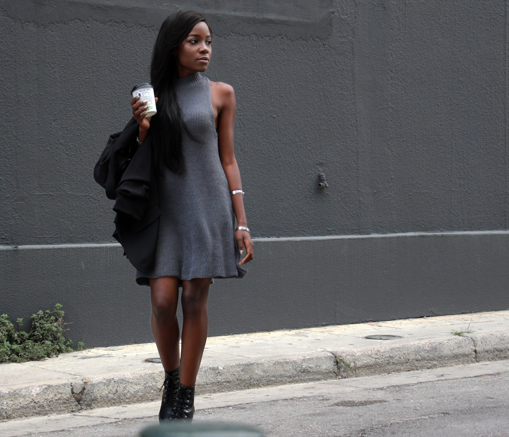 grey-dress-black-blazer-outfit