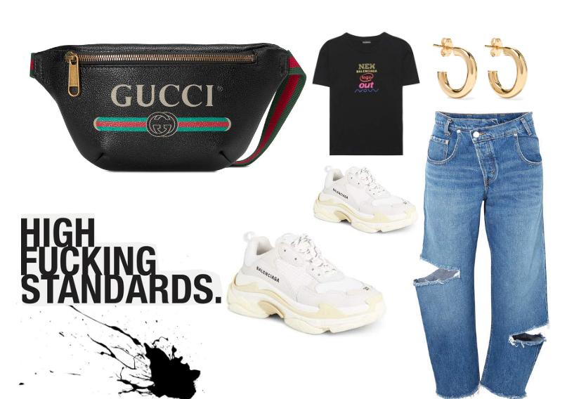 streetwear outfit set featuring Gucci, Balenciaga