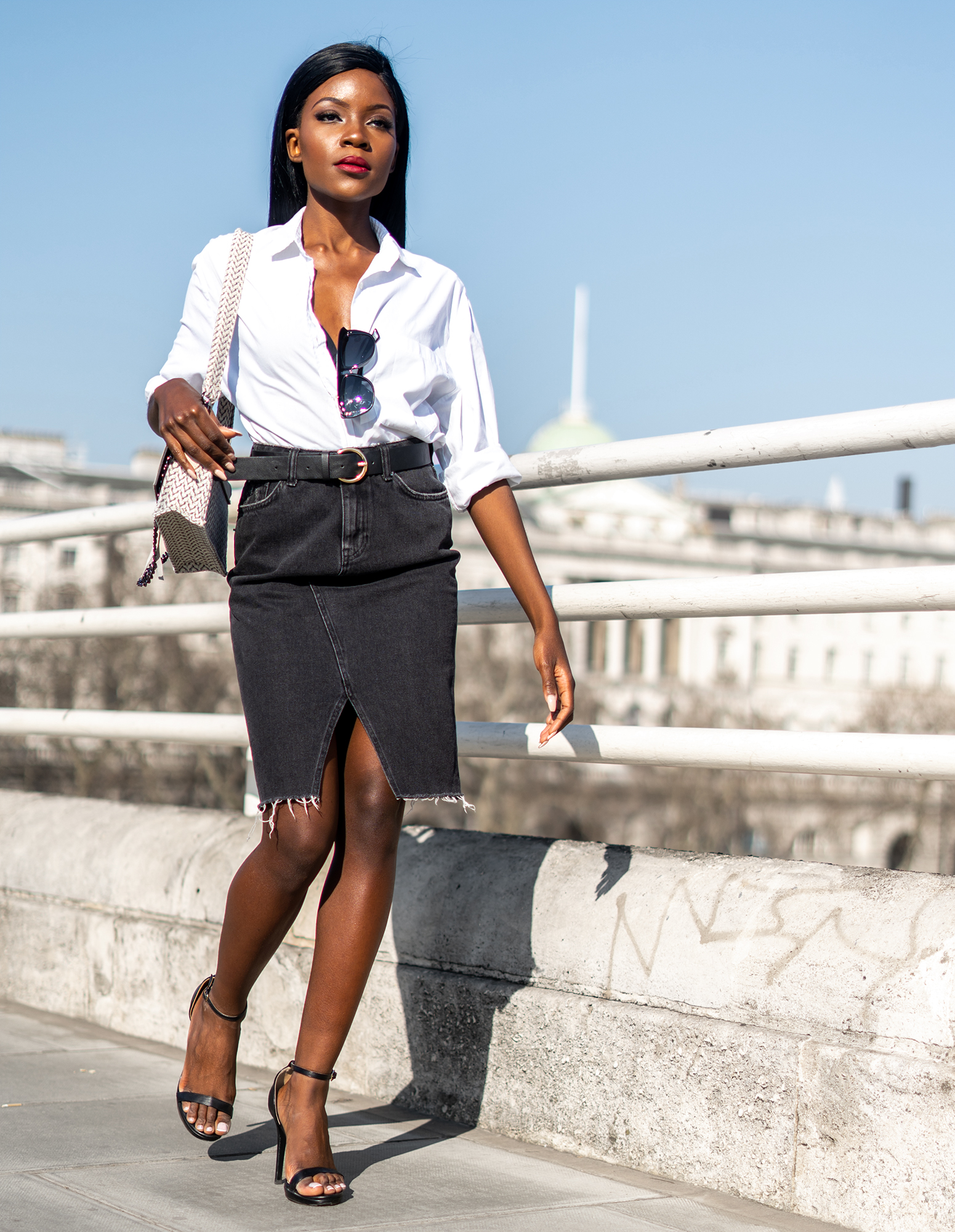 white-shirt-denim-skirt-look
